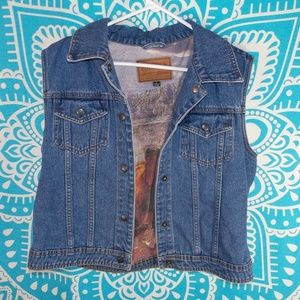 Retro Jean Vest Horse Print Outback Large Denim